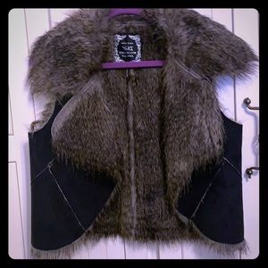 Faux Fur and Suede Vest